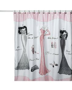 Perfect match for my retro pink bathroom! So glad I found this curtain! Dressed to Thrill Shower Curtain - Bed Bath & Beyond Shabby Chic Shower Curtain, Modern Shower Curtains, Bathroom Shower Curtains, Fabric Shower Curtains, Small Space Bathroom, Pink Tiles, Bedroom Themes, Bedroom Decor, Bathroom Ideas