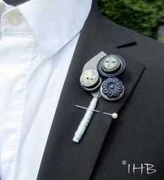 Grey and Navy Blue boutonniere