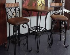 Bistro Set - Wooden/ Metal Bistro Table w/ 2  Barstools - $279.95