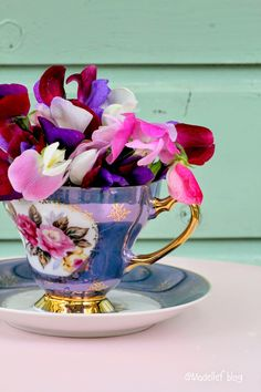 Teacup and flowers.