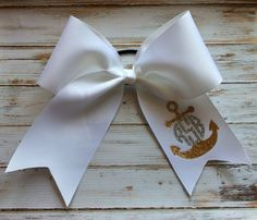 Glitter Monogram Cheer Bow, Anchor monogram, Monogrammed Gifts, Dance, Gymnastics, Big Cheer Bow, Cheerleaders, Girls, Teens on Etsy, $12.99