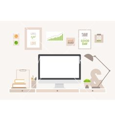 Table flat business office and workspace vector on VectorStock