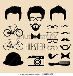 Big vector set of dress up constructor with different men hipster haircuts, glasses, beard, mustache, bikes in trendy flat style. Flat man faces icon creator