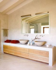 lavabos redondos, mueble  para lavabos, espejos