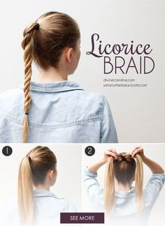 The licorice braid is perfect for the days when you don't have much time but still want an amazing hair look.