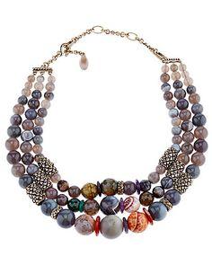Stephen Dweck Bronze Gemstone Necklace