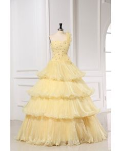 cb7667b3ac1 Dazzling Asymmetrical Straps Ball Gown Floor Length Daffodil Sweet 15  Dresses With Tiered Pageant Dresses