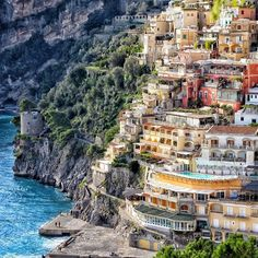 What a beautiful location to travel to! I so think this should be on anyone's travel bucket list. Just look at how cool the buildings are here in Positano, Italy! Places To Travel, Places To See, Dubai, Earth City, Disneyland Hotel, Positano Italy, Places In Italy, Paris Hotels, Vacation Destinations
