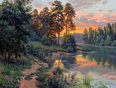 By Igor Prischepa Great Paintings, Nature Paintings, Beautiful Paintings, Beautiful Landscapes, World Famous Paintings, Dream Pictures, Pictures To Paint, Nature Pictures, Watercolor Landscape
