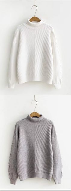 High Neck Solid Color Loose Pullover Sweater