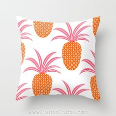 Pineapple Fruit 16x16 Graphic Decorative Cover Ananas Tropical Sweet Tropics Leaves Foliage Hot Pink Neon Orange Couch Art Decorative Spring...