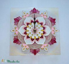 mandala clock     Fehér-rózsaszín virág mandala - egyedi festett üvegóra (Boriboszi) - Meska.hu