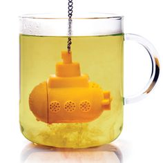 Yellow Submarine Tea Infuser makes the ideal gift for anyone who loves using loose tea! Simply fill your cup or teapot with boiling water and immerse the submarine! The Yellow Submarine Tea Infuser is really effective when using a glass mug or teapot. Yellow Submarine, Tea Diffuser, Tea Strainer, Loose Leaf Tea, Mellow Yellow, Blue Yellow, Color Blue, Drinking Tea, Tea Time