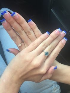 Royal Blue Prom Nails Silver French Tips