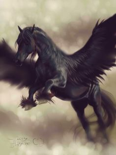 When walking back to the castle alone, Ylvana was kidnapped by Fenrir Warriors, who carried her onto a Black Pegasus, and fly away. Mythical Creatures Art, Mythological Creatures, Magical Creatures, Fantasy Creatures, Pegasus, Dragon Horse, Unicorn Pictures, Winged Horse, Beautiful Unicorn