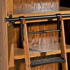 Rockler Vintage Rolling Library Ladder - Satin Black Finish - Rockler Woodworking Tools