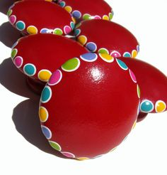 Rainbow Red Knobs: Hand Painted Red Drawer Pulls, Spots, Polka Dots, Set of 12