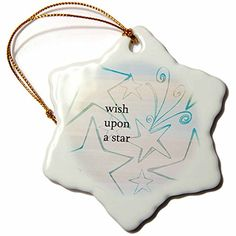 3dRose orn_152065_1 Wish Upon a Star Aqua Inspirational Art Snowflake Porcelain Ornament 3Inch >>> Check out the image by visiting the link.