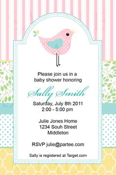 Pastel Baby Bird Shower Invite Also by TracyAnnPrintables