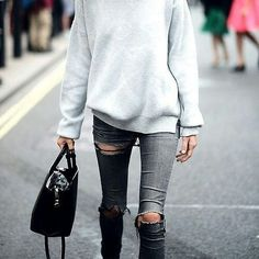 Oversized Gray Sweater // Ripped Gray Jeans // Black Bag