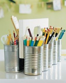 Cool art supply caddy with tin cans and plywood