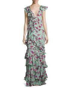 B3EUV Johanna Ortiz Queen Elizabeth Floral Tiered Gown, Light Teal/Pink