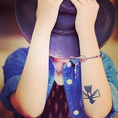 """@leliarababy's photo: """"#repost @freepeople #freepeople #style #fashion #tattoo #tattoos #girl #hat #cowboyhat #shirt #blue #arms #hands #bracelets #free #people #potd"""""""