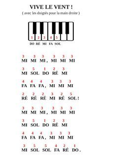 PIANO GNU: Vive le vent (version débutant) - Stamp Tutorial and Ideas Easy Piano Sheet Music, Piano Music Notes, Solfege Piano, Piano Songs For Beginners, Vive Le Vent, Music Chords, Keyboard Piano, Piano Teaching, Learning Piano