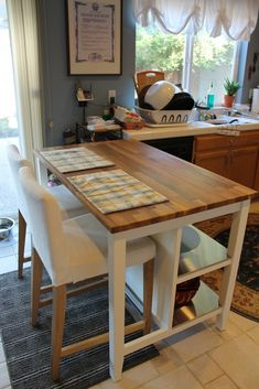 Enthralling Tall Kitchen Island Cart with Yellow and Blue Plaid Placemats on Butcher Block Countertops also Upholstered Counter Stools Beside…