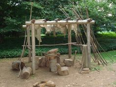 Love this idea instead of a traditional cubby. Much less snake and spider hidey holes Kids Outdoor Spaces, Kid Spaces, Outdoor Fun, Natural Playground, Outdoor Playground, Playground Ideas, Outdoor Learning, Outdoor Activities, Childcare Activities