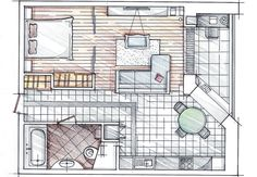 only 60 sq. Small Floor Plans, Small House Plans, House Floor Plans, Apartment Layout, One Bedroom Apartment, Apartment Design, Lofts, Sell My House, Tiny House