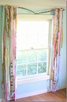studio gypsy curtains, quirky farmhouse style- fabric scrap ribbons on a rustic branch -from the Shabby Creek Cottage.