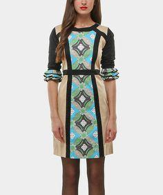 Look what I found on #zulily! Blue & Tan Retro Ruffle-Sleeve Sheath Dress by Almatrichi #zulilyfinds