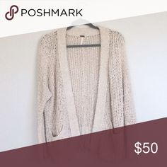 Free People Loose Knit Cardigan worn a handful of times, sleeves are slightly dirty but great condition otherwise! | size small | cream/beige | no trades Free People Sweaters Cardigans