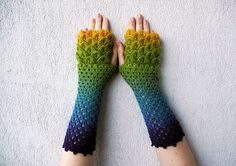 crochet dragon scale   Fingerless mittens Rainbow multicolored spring by mareshop, $42.00