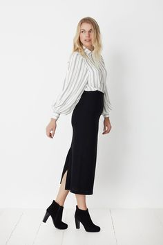 Pencil Skirt and Shirt - No Ordinary Suit 7/8 length high waisted skirt with split back from quirky Swedish fashion label Mes Dames. We've put it together with the Ulsa shirt from Minimum. This is a cotton and linen blend white shirt with grey stripes and long oversized puffy sleeves.