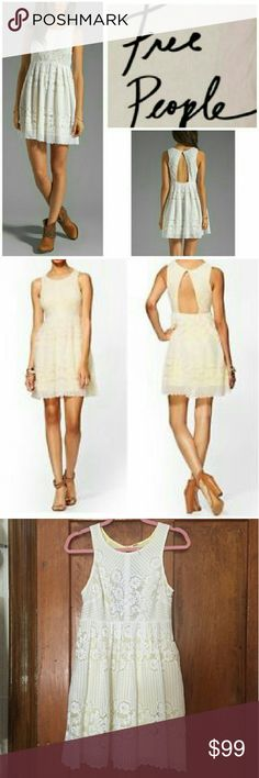 FINAL PRICE Free People Rocco Cutout Lace Dress Gorgeous, feminine and unique dress from free people. Perfect for hot weather. White lace overlay atop a lemon yellow slip. Free People Dresses Mini