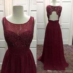 2016 New Burgundy Bridesmaid Dresses Real Pictures Jewel Neck Chiffon And Lace Floor Length Guest Gowns With Backless And Sleeveless Champagne Bridesmaid Dress Charcoal Bridesmaid Dresses From Uniquebridalboutique, $102.52| Dhgate.Com Women, Men and Kids Outfit Ideas on our website at 7ootd.com #ootd #7ootd