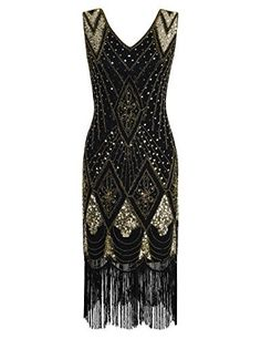 PrettyGuide Women 1920s 1920s Gatsby Cocktail Sequin Art Deco Flapper Dress L Gold Buy now from Amazon Strictly speakingthis is a real 1920s art deco flapper dressvintageglamous.A sultry v neck and perfect cut create an exquisite sihoueteelaborate sequins and beading create a