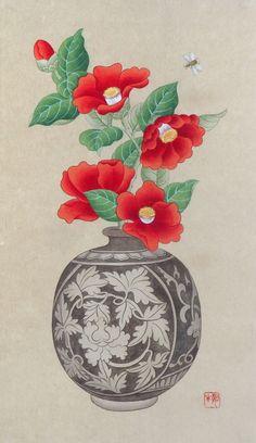 분청사기 박지 모단 당초문 편병 15세기의 분청사기에 지금 생생히 살아 있는듯한 동백꽃을 꽂아두었습니다... Korean Painting, Chinese Painting, Chinese Art, Japanese Drawings, Japanese Artists, Geisha Art, Illustration Blume, Korean Art, Traditional Paintings