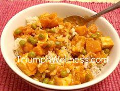 Pumpkin Tofu Curry #vegan (oil, onion, garlic, ginger, curry powder, crushed red pepper, tomato paste, coconut milk, frozen peas)