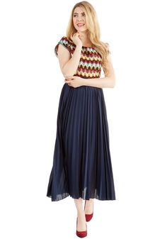 Of Allure Own Accordion Skirt. Take a stunning stance in this navy blue skirt! #blue #modcloth