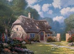 """""""Spring at Stonegate"""", 1990. Storybook Cottage, Cottage Art, Forest Cottage, Belle Image Nature, Thomas Kinkade Art, Kinkade Paintings, Oil Paintings, Nature Paintings, Acrylic Paintings"""