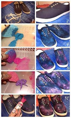 DIY: Galaxy Shoes. Party idea: everyone bring pair of shoes in their shoe size, and they decorate it. Galaxy, suits, bow ties, tardis blue, etc.