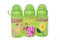 Personalized Water Bottle  Flower / Ladybug / by BeanBearCreations, $5.75