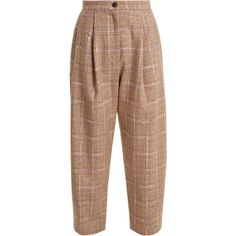 Natasha Zinko High-rise wool-blend tweed trousers (68.275 RUB) ❤ liked on Polyvore featuring pants, pink multi, high rise pants, brown tweed pants, travel pants, high-waisted wide leg pants and high-waisted trousers