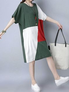 Casual Patchwork Loose Short Sleeve O-neck Dress For Women