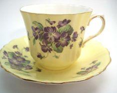 Old Royal Tea Cup and Saucer, Yellow tea cup and saucer set, Old Royal Violets tea cup.