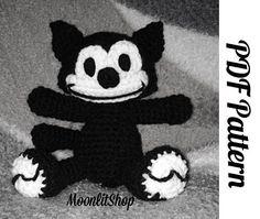 Crochet Felix the Cat Amigurumi Doll Inspired English PDF