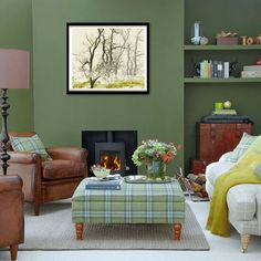 Forest green living room. Side chairs look similar to current side chairs. Large artwork.